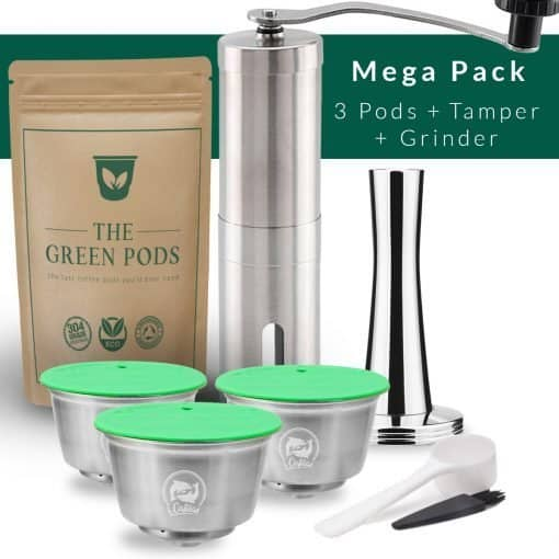 Barista bundle containing 3 reusable dolce gusto coffee pods, tamper, and coffee grinder