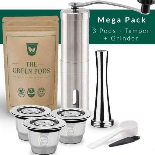 Barista bundle containing 3 reusable nespresso pods, tamper, and coffee grinder