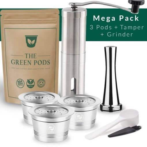 Barista bundle containing 3 reusable caffitaly pods, tamper, and coffee grinder